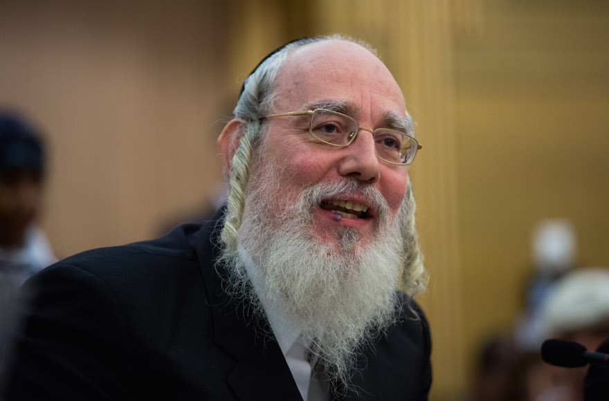 United Torah Judaism parliament member Israel Eichler speaking during a meeting in the Knesset in Jerusalem, Israel, June 15, 2015. (Yonatan Sindel/Flash90)