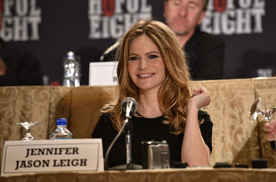 "Jennifer Jason Leigh speaking at a press conference for ""The Hateful Eight"" at the Waldorf Astoria Hotel in New York City, Dec. 14, 2015. (Bryan Bedder/Getty Images for The Weinstein Company)"