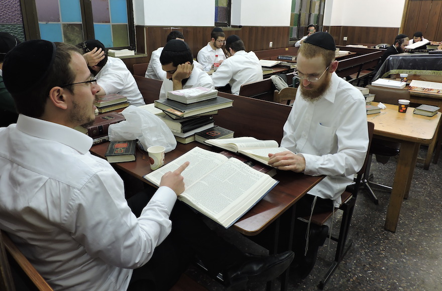 Lubavitcher Hasids in Kfar Habad study Talmud in 770, a brick-for-brick replica of Chabad headquarters in Brooklyn. (Ben Sales)