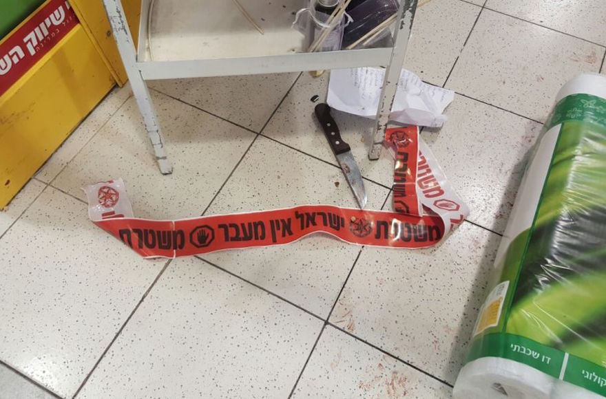 One of the knives used in a stabbing attack at a supermarket in the Shaar Binyamin industrial park, north of Jerusalem, Feb. 18, 2016. (Israel Police)