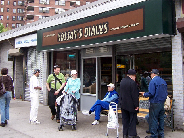 The outside of Kossar's Bialys before it closed for renovations. (Wikimedia Commons)