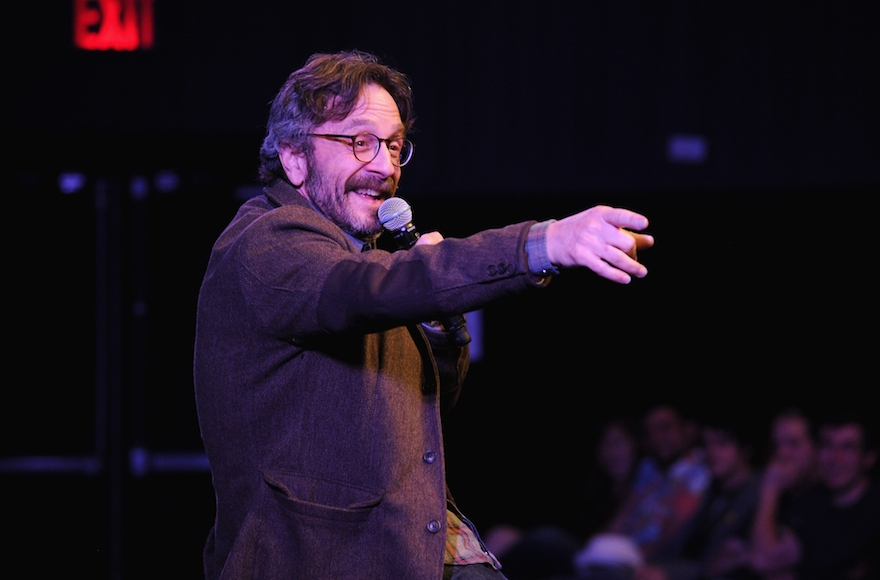 Marc Maron speaking at The New Yorker Comedy Playlist at the MasterCard stage at SVA Theatre during The New Yorker Festival in New York City, Oct. 11, 2014.