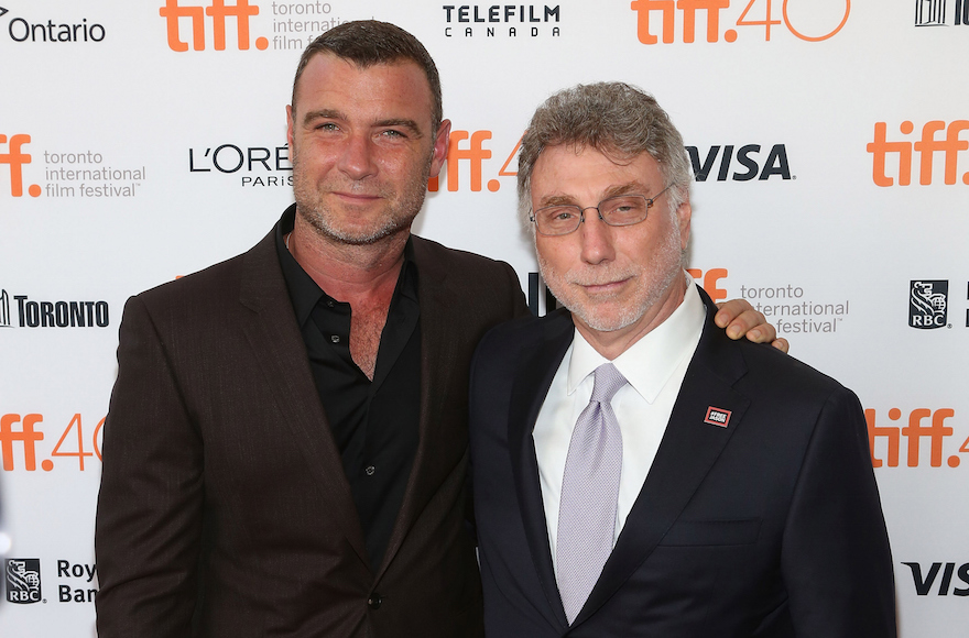 Liev Scheiber, left, with Marty Baron, the former Boston Globe editor he portrays in the film