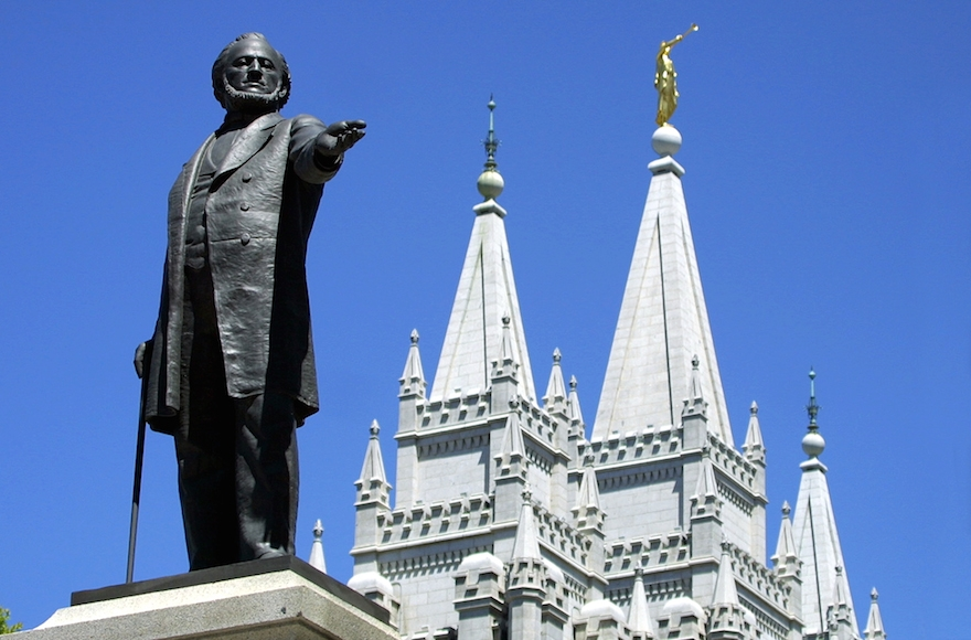 A statue of Brigham Young at the Mormon Temple in Salt Lake City, Utah. (George Frey/AFP/Getty Images)