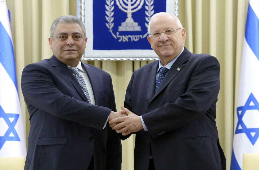 New Egyptian Ambassador to Israel Hazem Khairat, left, presents his credentials to Israeli President Reuven Rivlin on Feb. 25, 2016. (Photo by Mark Neiman, GPO)
