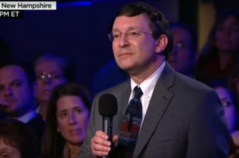 Rabbi Jonathan Spira-Savett querying Hillary Clinton at the Democratic presidential candidates' town hall in Derry, New Hampshire, Feb. 3, 2016.
