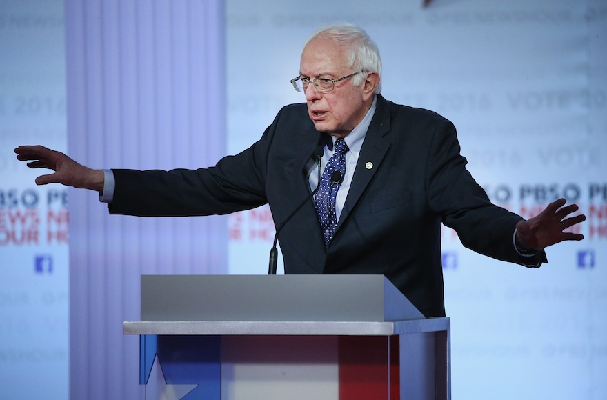 Bernie Sanders participatig in the PBS NewsHour Democratic presidential candidate debate at the University of Wisconsin-Milwaukee, Feb. 11, 2016. (Win McNamee/Getty Images)