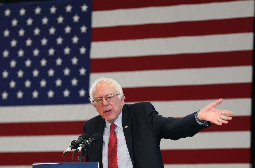 Sen. Bernie Sanders, I-Vt.. speaking at a town meeting at the Elmo High School gymnasium as he continues to campaign in Elko, Nevada, Feb. 19, 2016.  (Joe Raedle/Getty Images)