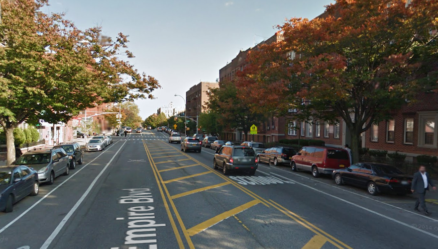 On Feb. 10, 2016, an Orthodox man was stabbed on this block of Empire Boulevard in Crown Heights. (Google Street View)