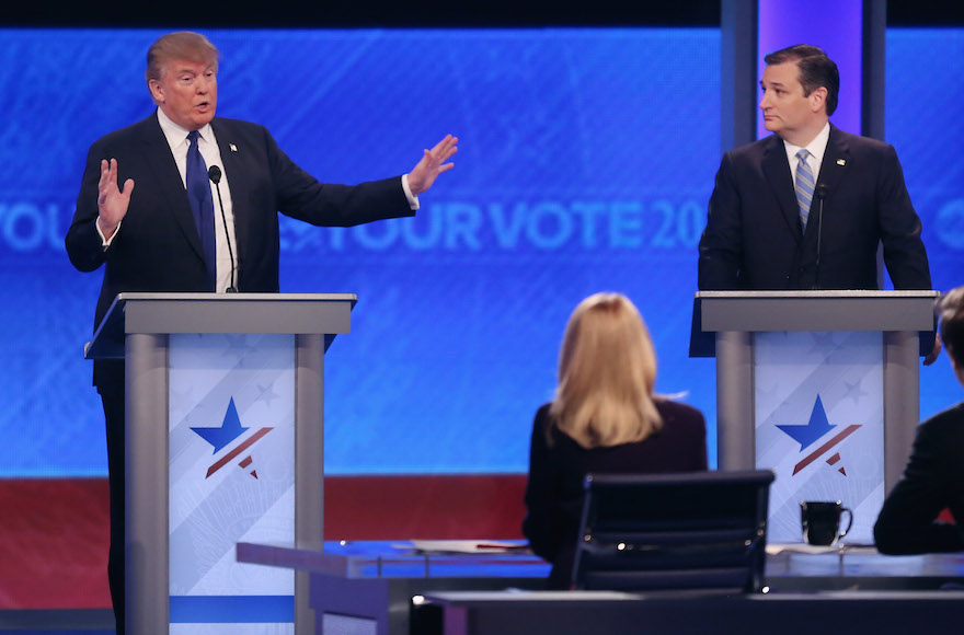 Donald Trump and Sen. Ted Cruz, R-Texas, participating in the Republican presidential debate at St. Anselm College in Manchester, New Hampshire, Feb. 6, 2016. (Joe Raedle/Getty Images)