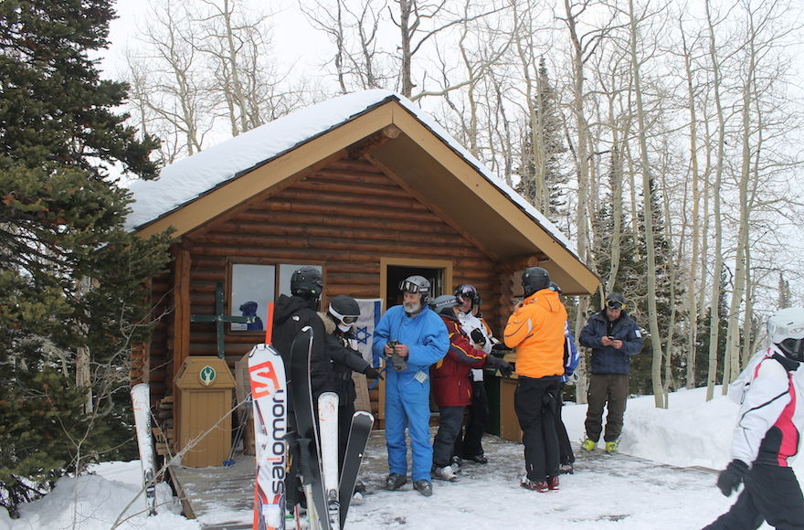 The Kabbalat Shabbat service at Deer Valley ski resort is located in the woods off an intermediate trail at elevation 8,800. (Uriel Heilman)