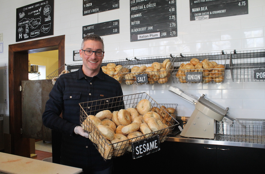 A former technology whiz from the East Coast, Robb Abrams has forged a new identity as a bagel maker in Salt Lake City. (Uriel Heilman)