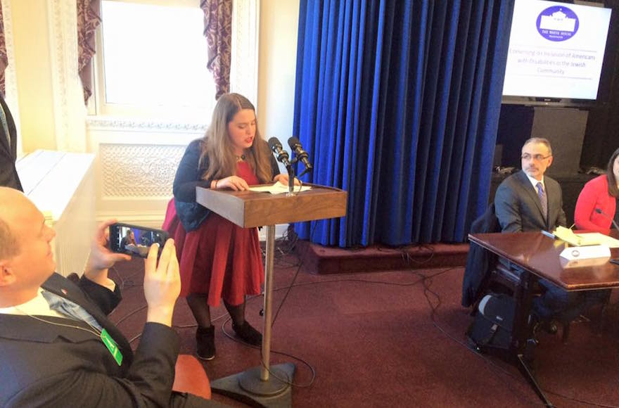 Maria Town speaking at White House event about barriers to Jewish life for those with disabilities in Washington, D.C., Feb. 18, 2016. (Facebook)