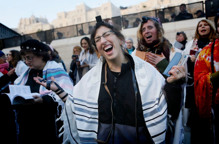 Women of the Wall praying at the Western Wall in Jerusalem, Jan. 2, 2014.(Miriam Alster/Flash90)