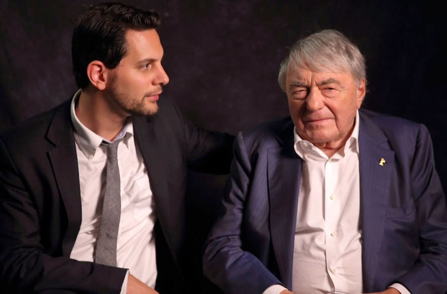 Filmmaker Adam Benzine, left, and acclaimed documentarian Claude Lanzmann in 2013. ( Jet Black Iris America)