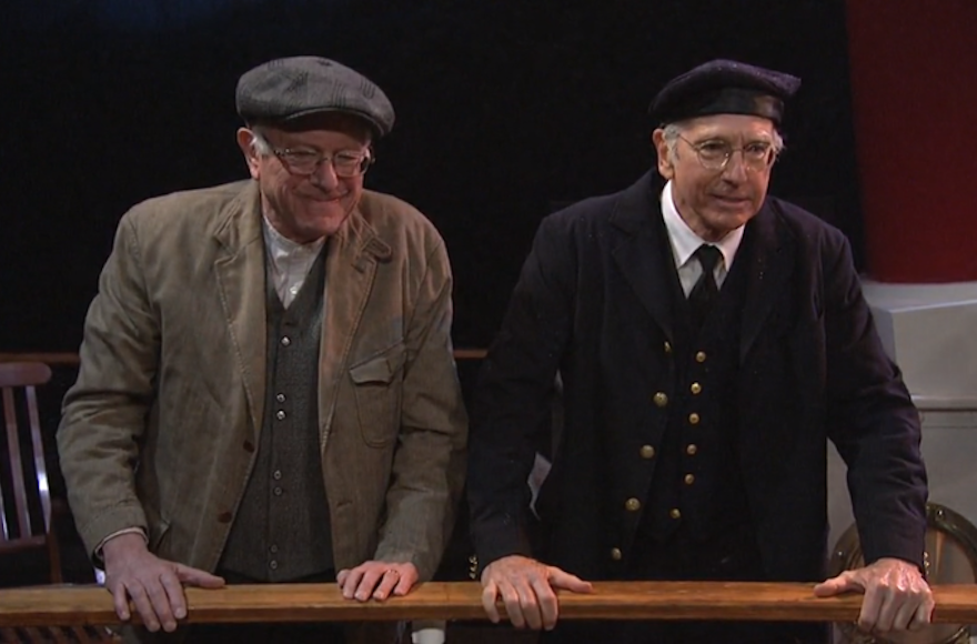 "Bernie Sanders, left, and Larry David acting together in a ""Saturday Night Live"" sketch, Feb. 6, 2016."