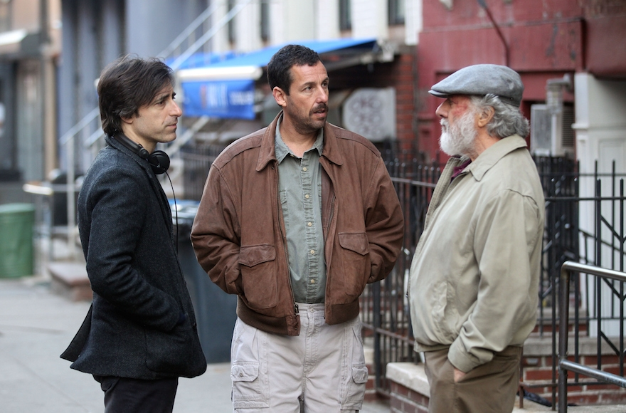 "Noah Baumbach, Dustin Hoffman and Adam Sandler filming ""The Meyerowitz Stories"" in New York City, March 8, 2016. (Steve Sands/GC Images)"