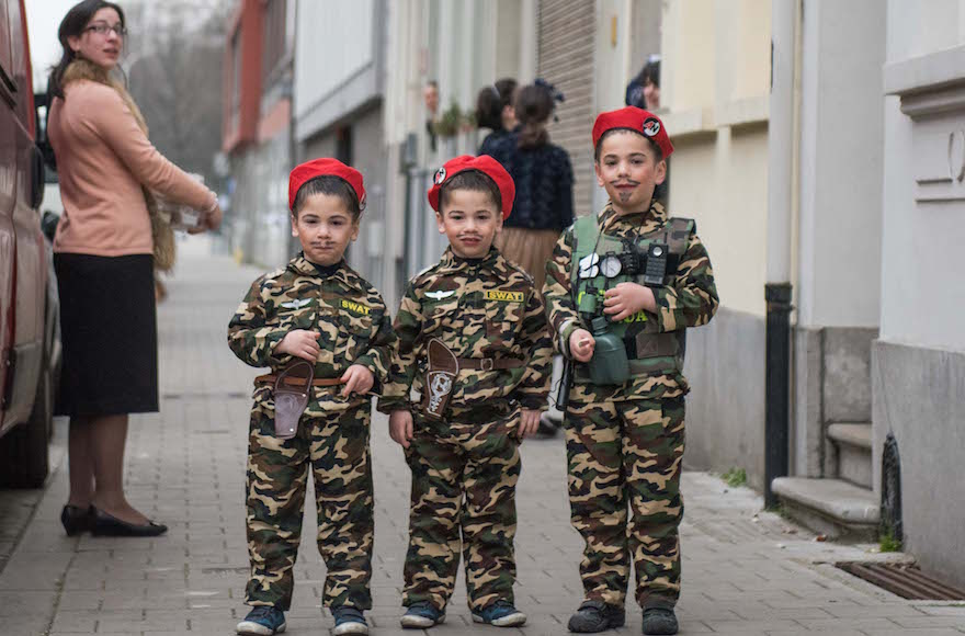 Jewish children in Antwerp, Belgium, dressed as soldiers on Purim, March 24, 2016. (Cnaan Liphshiz)