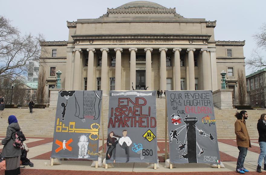 Anti-Israel students at Columbia University erected a mock