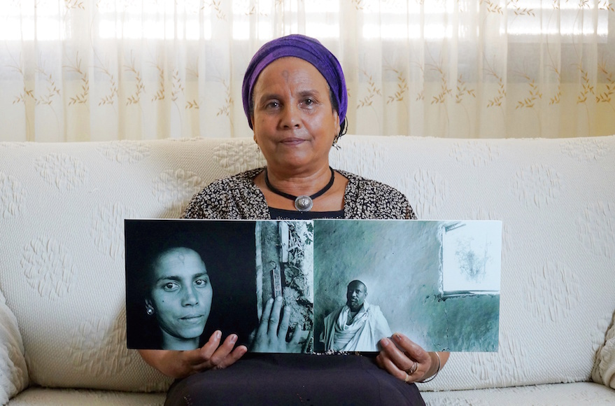 Abeba Brhan with a photo of her late husband Ababa. (Orli Malassa)