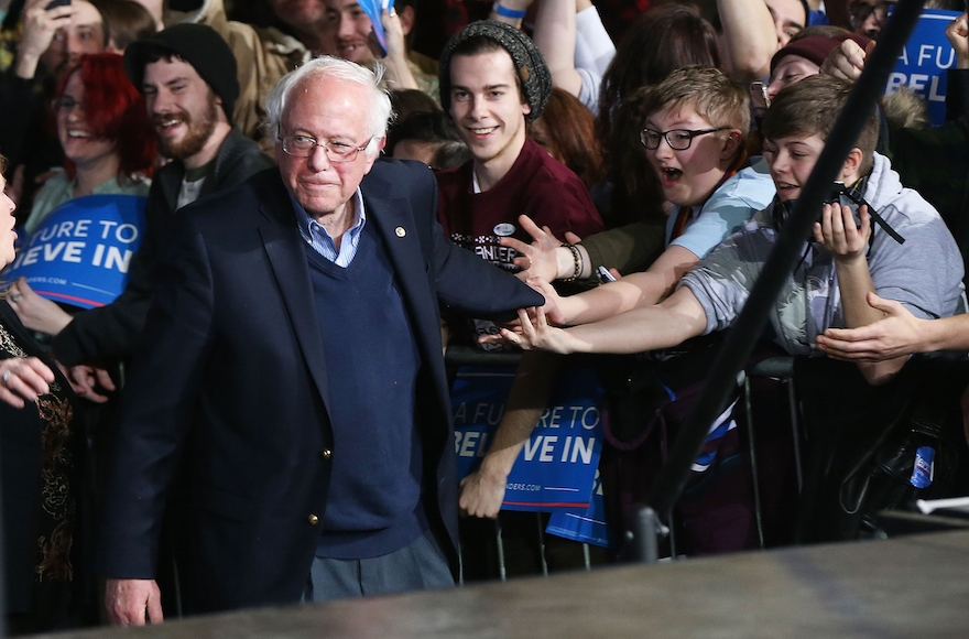 Bernie Sanders walking onstage to greet supporters after winning the Vermont primary on Super Tuesday in Essex Junction, Vermont, March 1, 2016. (Spencer Platt/Getty Images)