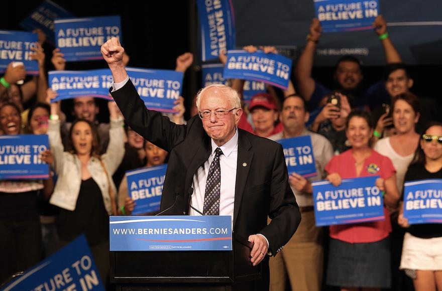 Bernie Sanders acknowledging his supporters during a campaign event in Miami, Florida, March 8, 2016. (Pedro Portal/El Nuevo Herald/TNS via Getty Images)