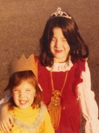 Cindy Sher, left, and her sister, dressed as Queen Esther for Purim. (Courtesy of Cindy Sher)