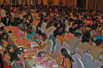 The main hall of the Passover seder of Kathmandu at the city's Radisson Hotel on April 6, 2012. (Courtesy Eyal Keren.)