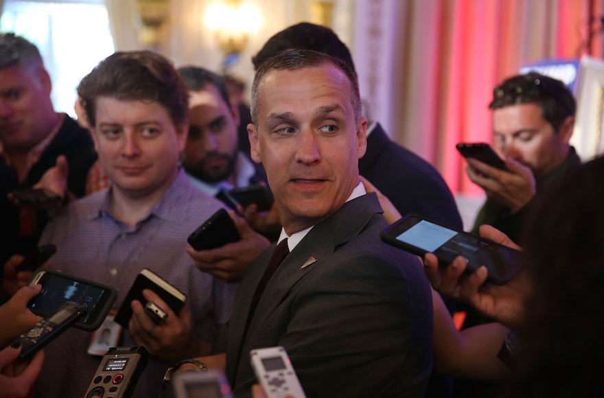 Corey Lewandowski speaking with the media before former presidential candidate Ben Carson gives his endorsement to Donald Trump at the Mar-A-Lago Club in Palm Beach, Florida, March 11, 2016. (Joe Raedle/Getty Images)
