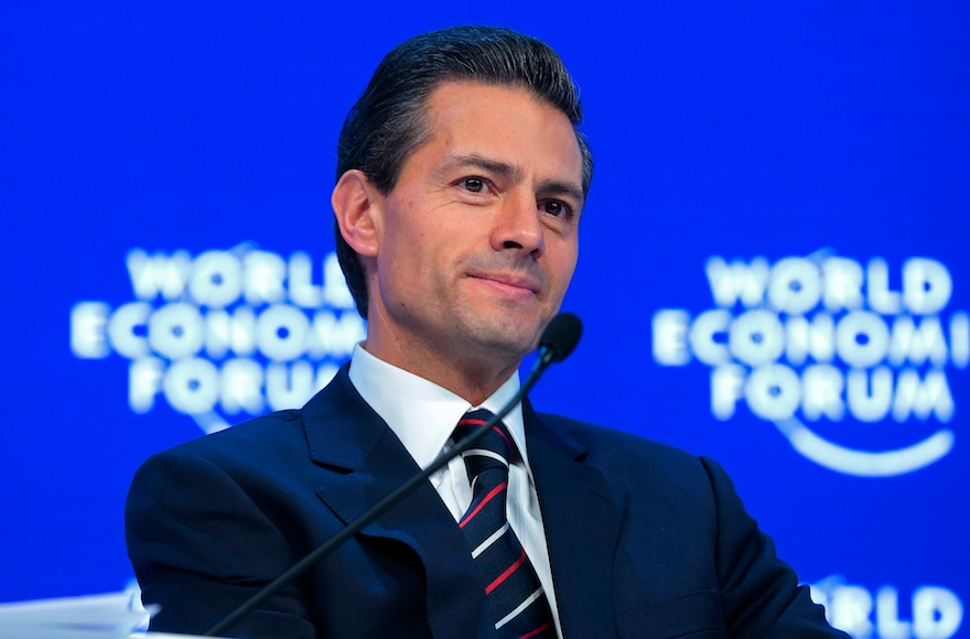 Enrique Pena Nieto, Mexico's president, speaking during a panel session at the World Economic Forum in Davos, Switzerland, Jan. 22, 2016. (Jason Alden/Bloomberg)
