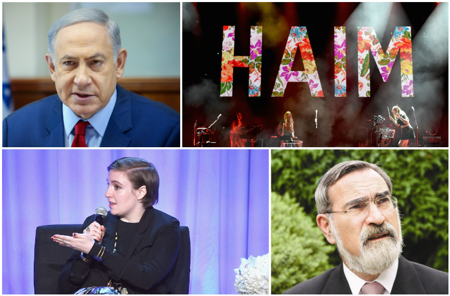 Left to right: Benjamin Netanyahu, HAIM, Lena Dunham, and Rabbi Jonathan Sacks.