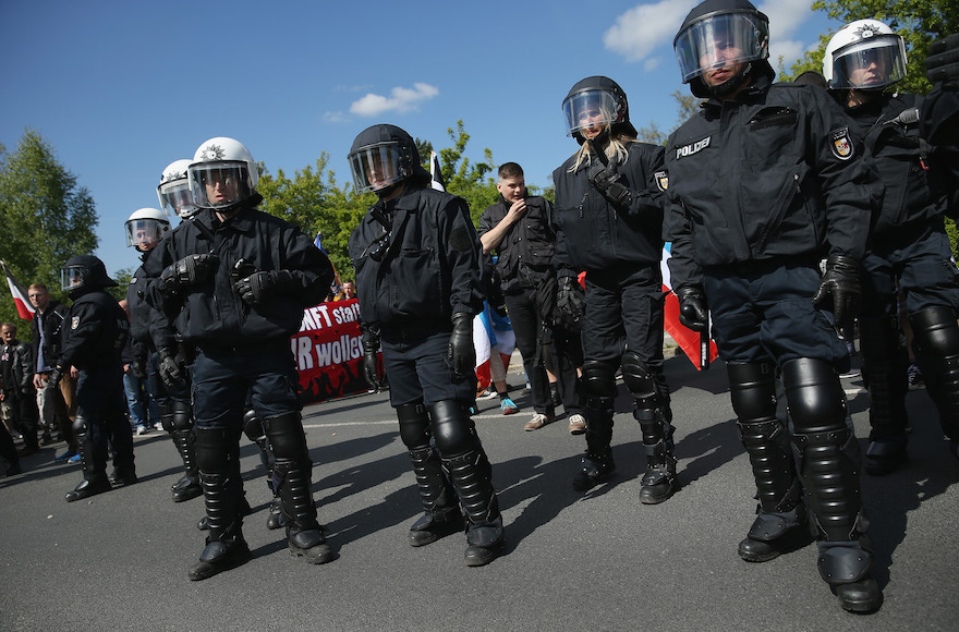 German riot police monitoring a May Day march in Rostock, Germany, May 1, 2014. (Sean Gallup/Getty Images)