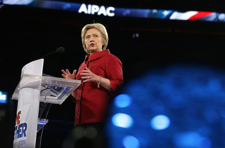 Hillary Clinton addressing the annual American Israel Public Affairs Committee (AIPAC) in Washington, D.C., March 21, 2016. (Alex Wong/Getty Images)