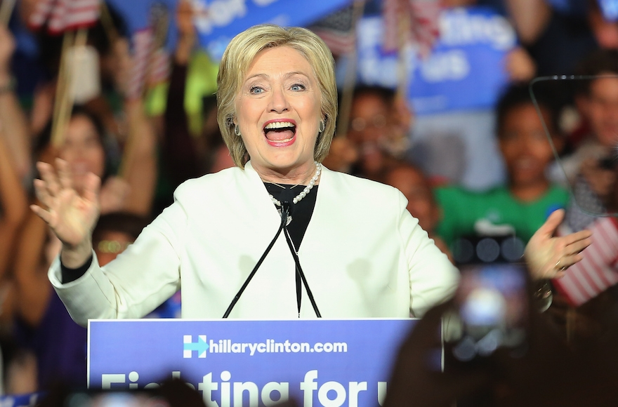 Hillary Clinton speaking during her Super Tuesday evening gathering at Stage One at Ice Palace Studios in Miami, Florida, March 1, 2016. (Alexander Tamargo/Getty Images)