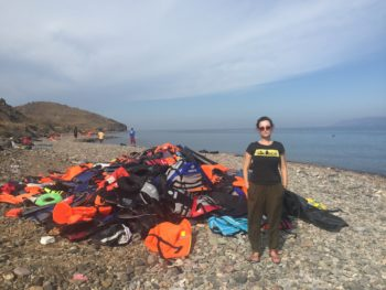 Vayntrub on the beach in Lesbos, where she aided refugees arriving on shore. (Courtesy of Milana Vayntrub/Can't Do Nothing)
