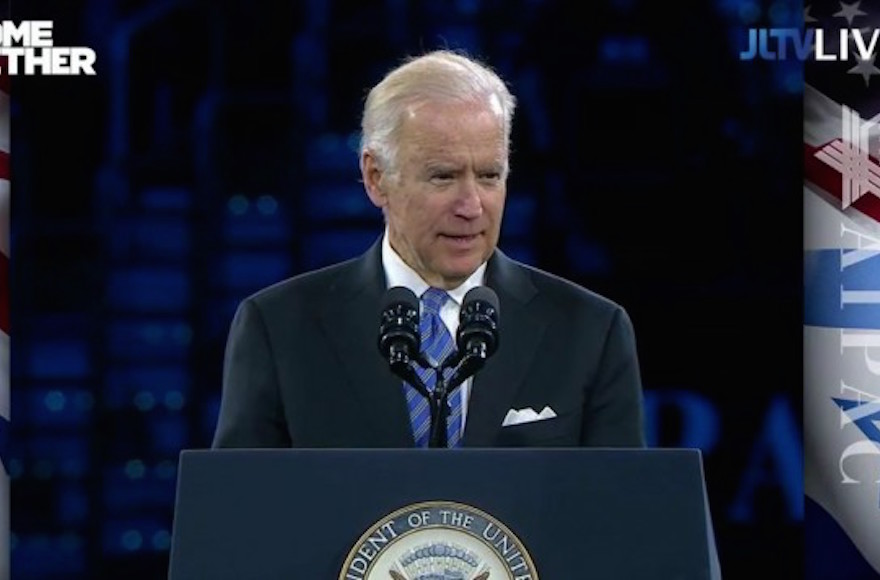 Vice President Joe Biden addressing the 2016 American Israel Public Affairs Committee Policy Conference in Washington, D.C., March 20, 2016. (YouTube screen capture)
