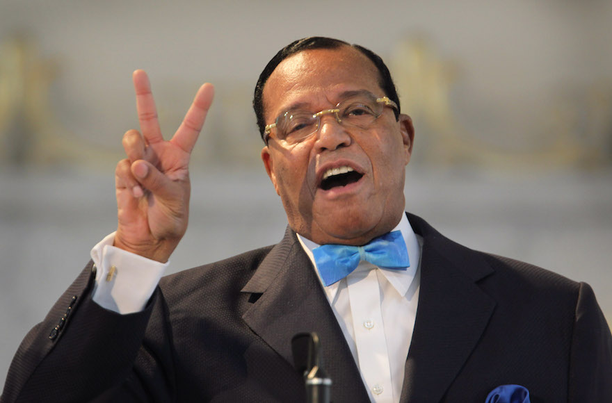 Louis Farrakhan, leader of the Nation of Islam, making a point while speaking at a press conference at Mosque Maryam in Chicago, Illinois, March 31, 2011. (Scott Olson/Getty Images)