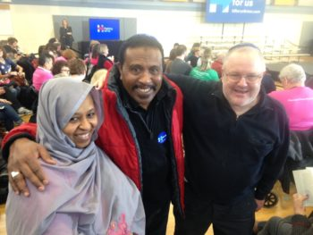 Marc Daniels, right, with two Muslim Hillary Clinton supporters at a Clinton event at the North Liberty Library in North Liberty, Iowa. (Courtesy of Marc Daniels)
