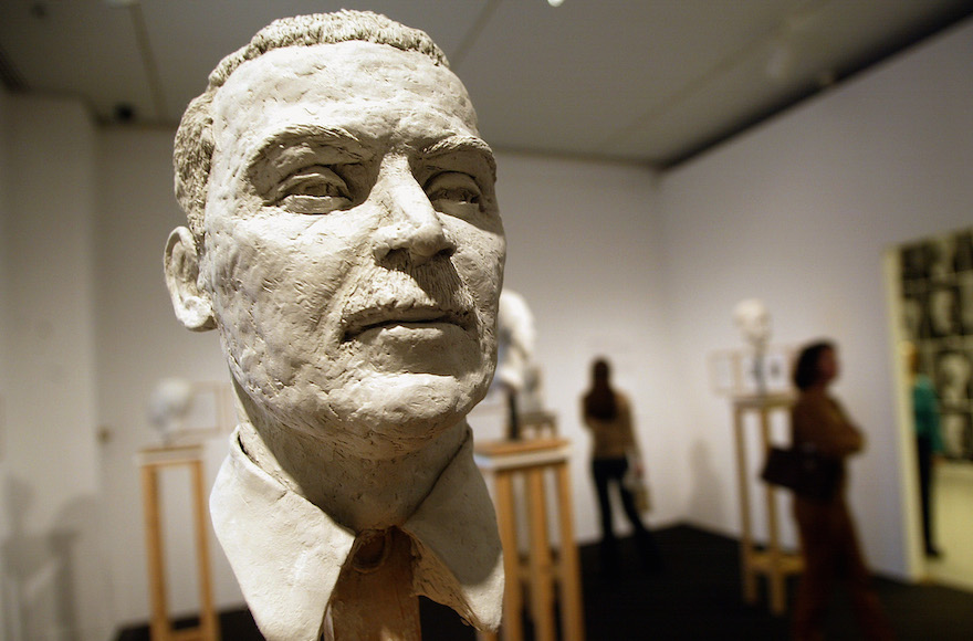 A bust of Nazi criminal Josef Mengele, part of a piece by Christine Borland titled L''Homme Bouble, is displayed as part of the Mirroring Evil:Nazi Imagery/Recent Art exhibit at the Jewish Museum in New York City, March 19, 2002. (Mario Tama/Getty Images)