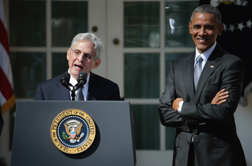 Judge Merrick Garland speaking after being nominated to the Supreme Court as President Barack Obama looks on, in the Rose Garden at the White House in Washington, D.C., March 16, 2016. (Chip Somodevilla/Getty Images)