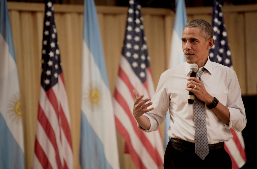 President Barack Obama speaking at a town hall event in Buenos Aires, Argentina, March 23, 2016. (Diego Levy/Bloomberg)