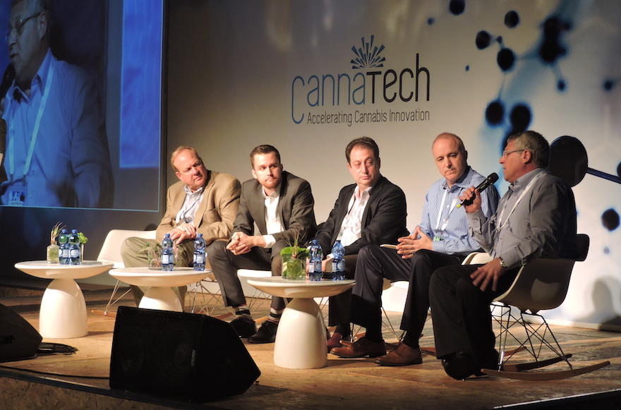 A panel of investors discussing the cannabis market at CannaTech, Israel's first-ever international cannabis technology conference, March 7, 2016. (Ben Sales)