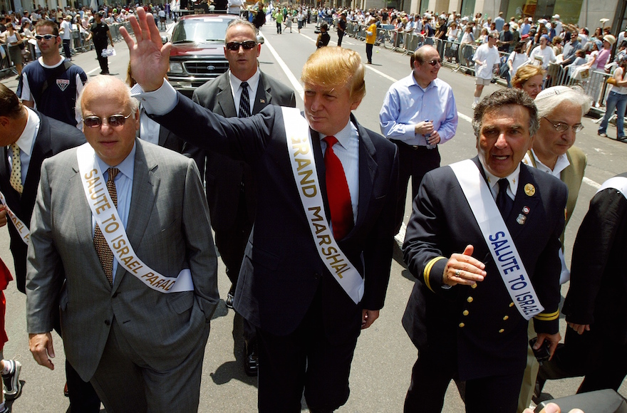 Donald Trump marching in the Salute to Israel Parade in New York, May 23, 2004. (Ron Antonelli/NY Daily News Archive via Getty Images)