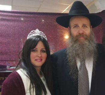 Rabbi Yisroel Belinow and his wife Rivky Belinow at the Chabad House of Saint-Denis near Paris, March 24, 2016. (Cnaan Liphshiz)