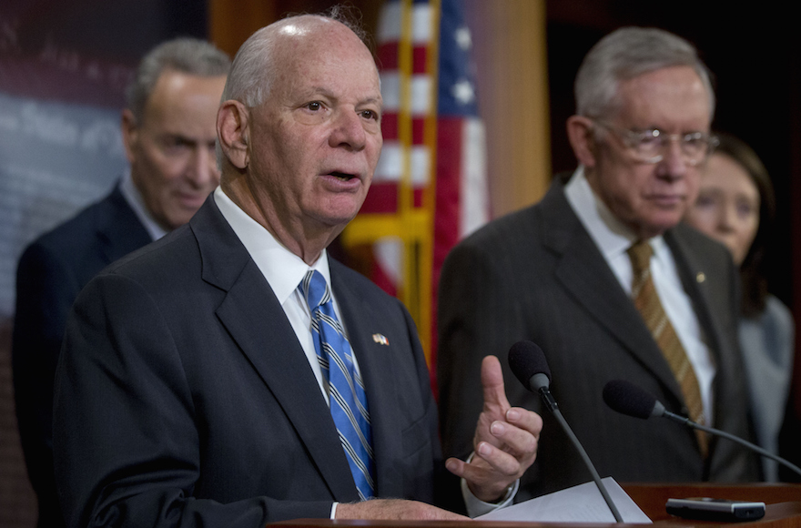 Senator Ben Cardin, D-Md., speaking during a press conference with other leading Democratic senators at the U.S. Capitol in Washington, D.C., Nov. 19, 2015. (Andrew Harrer/Bloomberg)