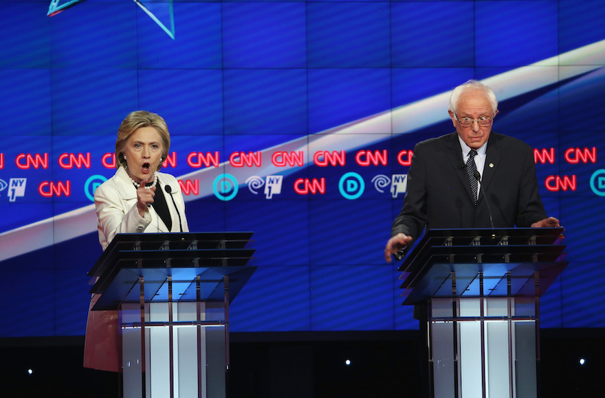 Hillary Clinton, left, and Sen. Bernie Sanders, I-Vt., debating during the CNN Democratic Presidential Primary Debate at the Duggal Greenhouse in the Brooklyn Navy Yard in New York City, April 14, 2016. (Justin Sullivan/Getty Images)