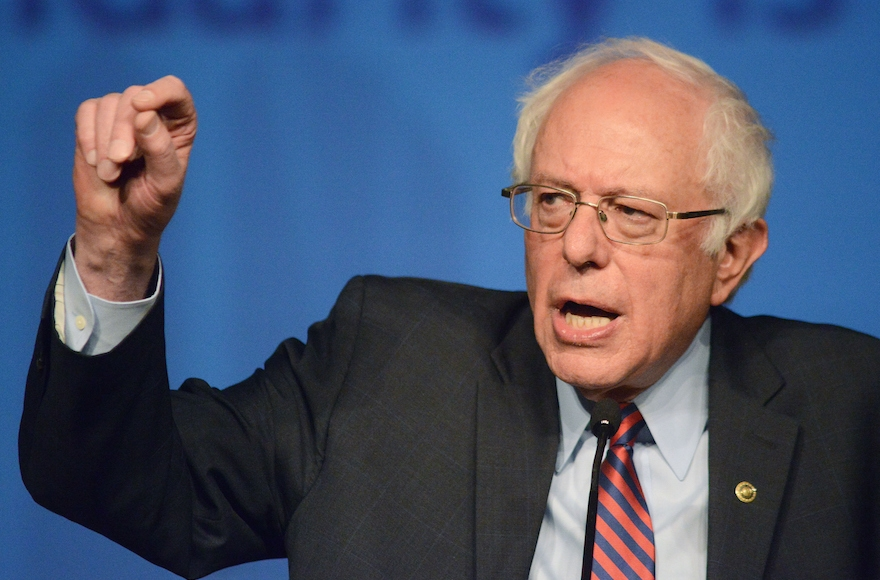 Democratic presidential candidate Sen. Bernie Sanders, D-Vt., speaking during the AFL-CIO Convention at the Downtown Sheraton in Philadelphia, April 7, 2016. (William Thomas Cain/Getty Images)