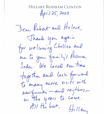 Hillary Clinton's letter to the Fine family after attending their Passover seder in 2000. (Courtesy of Bob Fine)