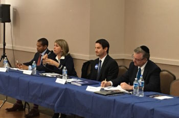Left to right: Congressional candidates Will Jawondo, Kathleen Matthews, Joel Rubin and David Trone debate at the Kemp Mill synagogue in Silver Spring, Maryland at an event convened by the Orthodox Union, April 8, 2016. (Ron Kampeas)