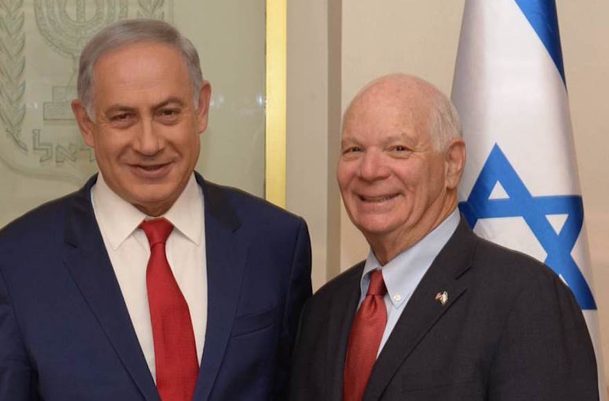 Senator Ben Cardin, D-Md., posing with Israeli Prime Minister Benjamin Netanyahu in Jerusalem, March 30, 2016. (Courtesy of U.S. Senate)